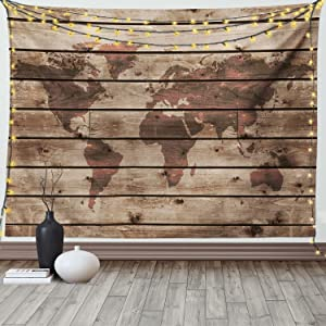 Ambesonne Rustic World Map Tapestry, World Atlas Reflection on Horizontal Oak Trees with Lines Region Space Theme, Wide Wall Hanging for Bedroom Living Room Dorm, 80