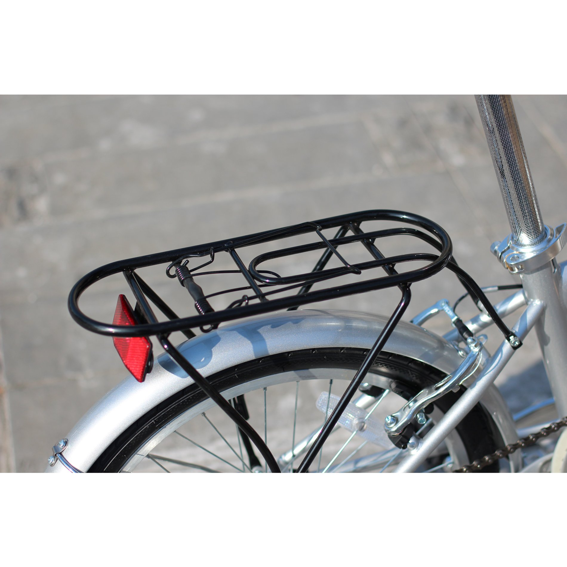 unYOUsual U transformer 20'' Folding City Bike Bicycle 6 Speed Shimano Gear Steel Frame Mudguard Rear Carrier Silver by IDS (Image #4)