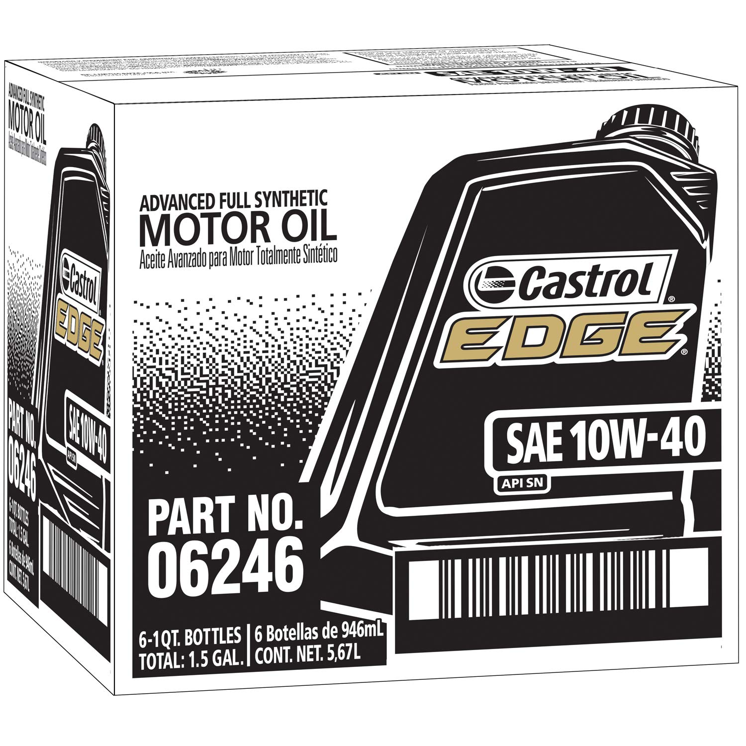 Castrol 06246 EDGE 10W-40 Advanced Full Synthetic Motor Oil, 1 Quart, 6 Pack
