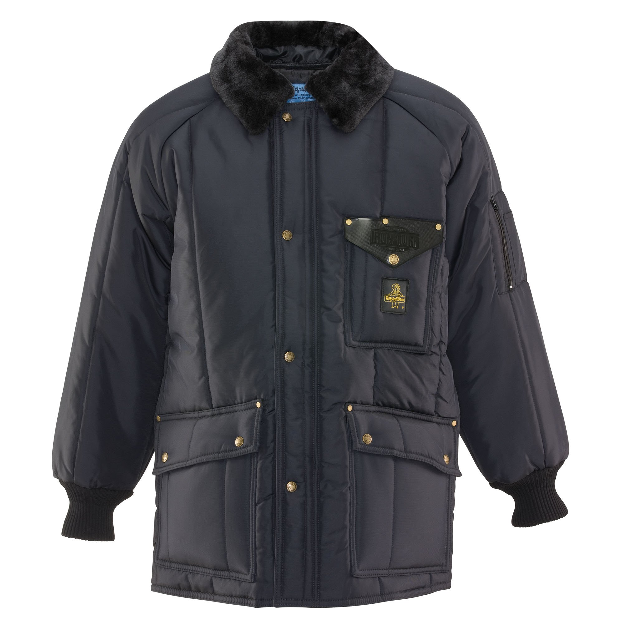 Refrigiwear Men's Water-Resistant Insulated Iron-Tuff Siberian Workwear Jacket with Soft Fleece Collar (Navy Blue, 2XL)