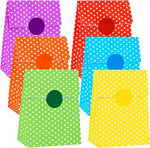 Cooraby 30 Pieces Party Paper Bags Kraft Paper Bags Gift Bags Candy Bags Flat Bottom Kraft Lunch Paper Bags Grocery Bags with 48 Pieces Label Stickers, 6 Colors
