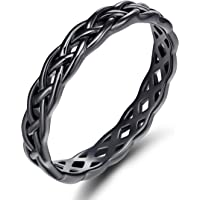 Titaniumcentral 925 Sterling Silver Rose Gold Celtic Knot Eternity Ring Irish Engagement Wedding Band