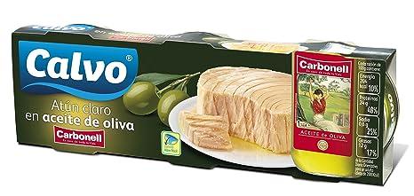 Calvo Atun Claro en Aceite de Oliva Carbonell - Pack de 3 x 100 g -