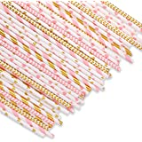 Hiware 200-Pack Biodegradable Paper Straws Bulk - 8 Different Pattern Pink/Gold Paper Drinking Straws for Juices, Shakes, Smoothies, Party Supplies, Birthday, Baby Shower Decorations
