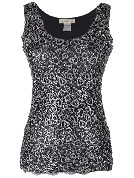 31a4ebebb7a480 Anna-Kaci Womens Casual Formal Embroidered Lace Sequin Sleeveless Shirt  Tank Top  Amazon.co.uk  Clothing