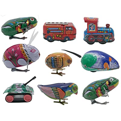 3pdt 9 pcs Box Collection of Retro Vintage Wind-up Metal tin Toys, Cool Crazy Gift, Frog, Rabbit, Bird, Chick, Truck, Locomotive, Mouse, Tank: Toys & Games