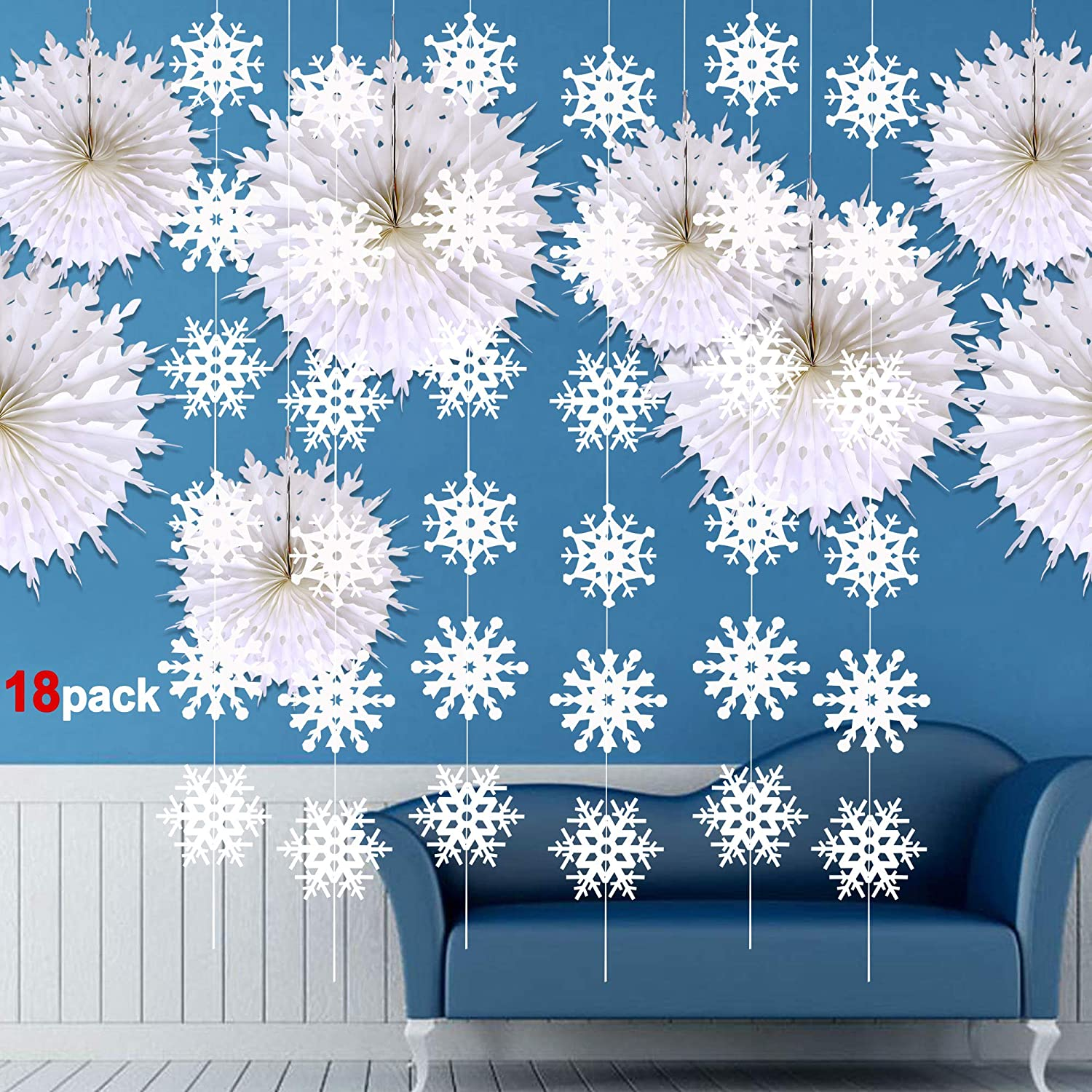 Snowflake Decorations 16pack Konsait Large Christmas Tissue Paper Fans Snowflake Hanging Garland Banner Decor Xmas Ornament Accessories For Home