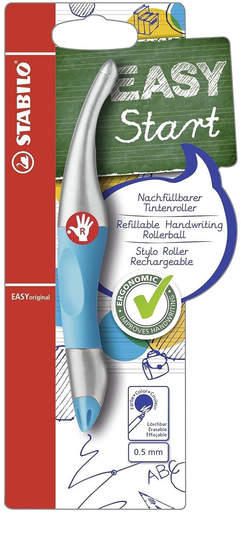 - inklusive Patrone STABILO EASYoriginal metallic in neonblau//metallic Ergonomischer Tintenroller f/ür Rechtsh/änder Schreibfarbe blau l/öschbar
