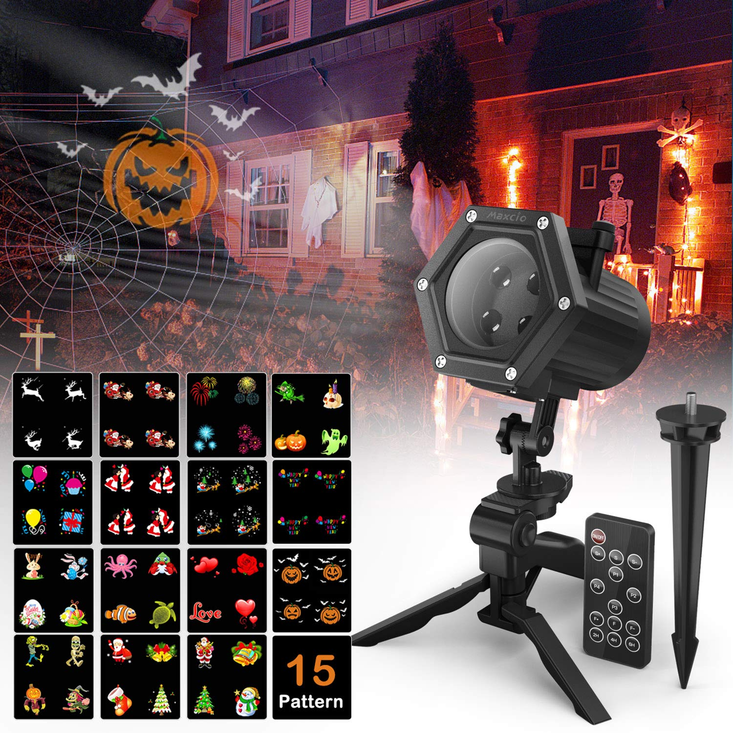Christmas Projector Lights, Maxcio LED Landscape Projector Lamp with 15pcs Replaceable Pattern Slides and Remote Control for Xmas, Halloween, Birthday, Party, Easter, Wedding, Holiday Decoration
