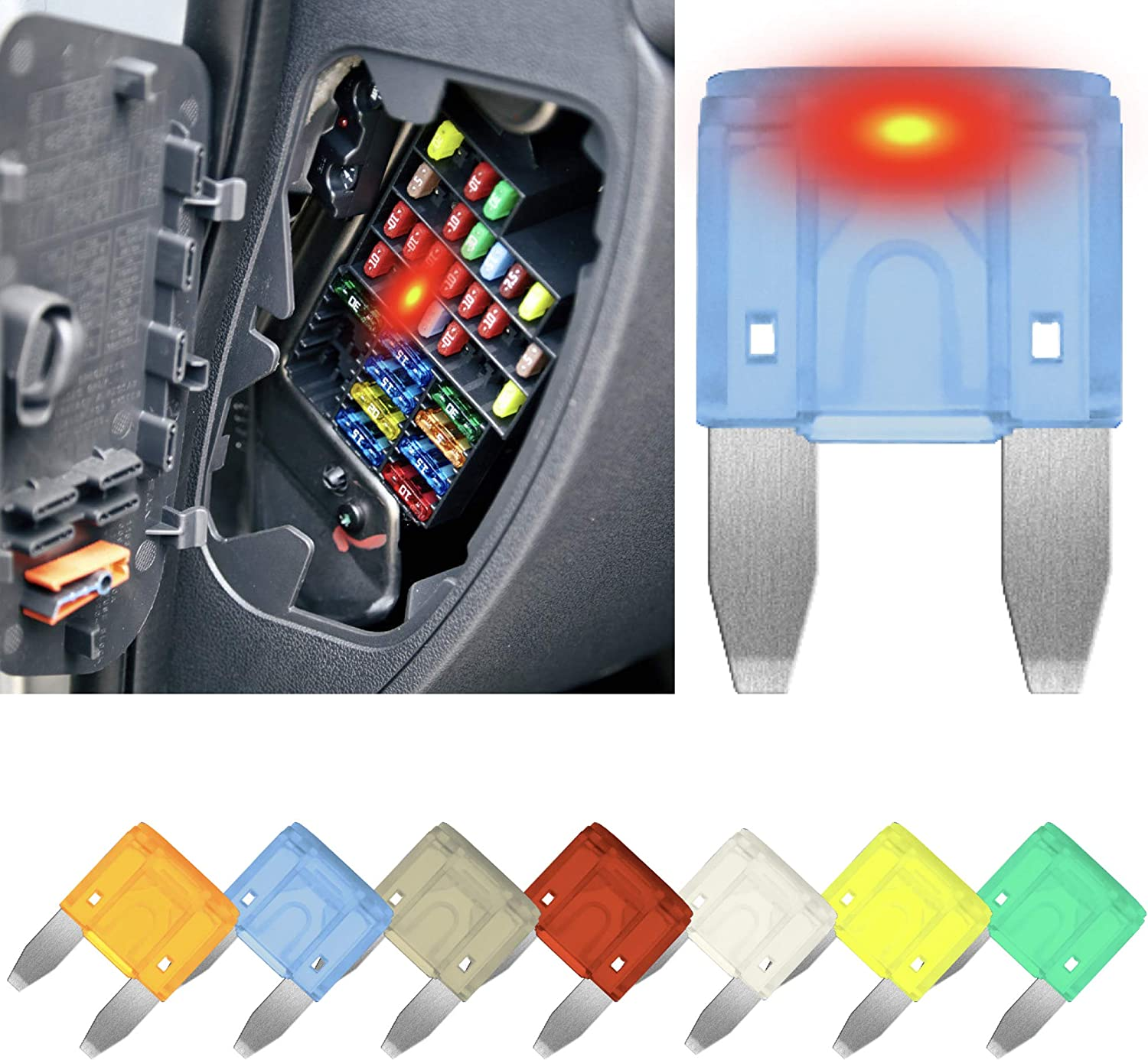 10 pcs. Smart GLOW Fuse Easy Identification Carax Fuse Fuse MINI Blade 30A Fuses Replacement Kit Illuminating Indicator Fuse That Glow When Blown Car Fuse Automotive ATC//ATO