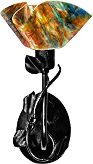 product image for Jezebel Signature BRSC-B-MA-LP12-DAY Lily Style Black Branch Sconce with Magnolia Leaves, Daylily