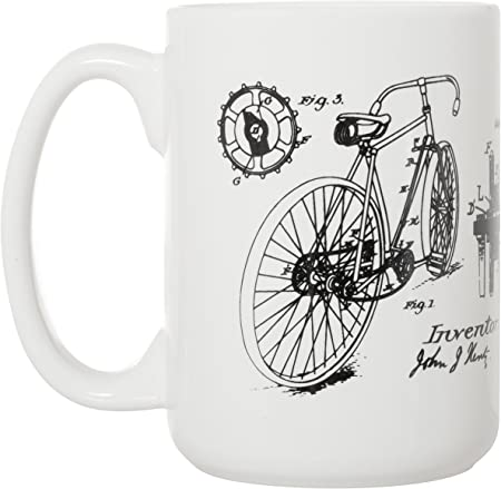 Bicicleta J.J. Hentz Patent Blueprint – Taza grande de lujo de 15 ...