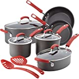 Rachael Ray Hard-Anodized Nonstick 12-Piece Cookware Set, Gray with Red Handles
