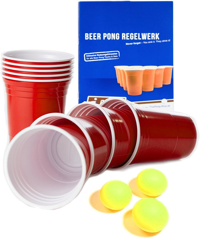 Rote Beer Pong Becher, Bierpongset Red Cups 50 Plastikbecher Trinkbecher