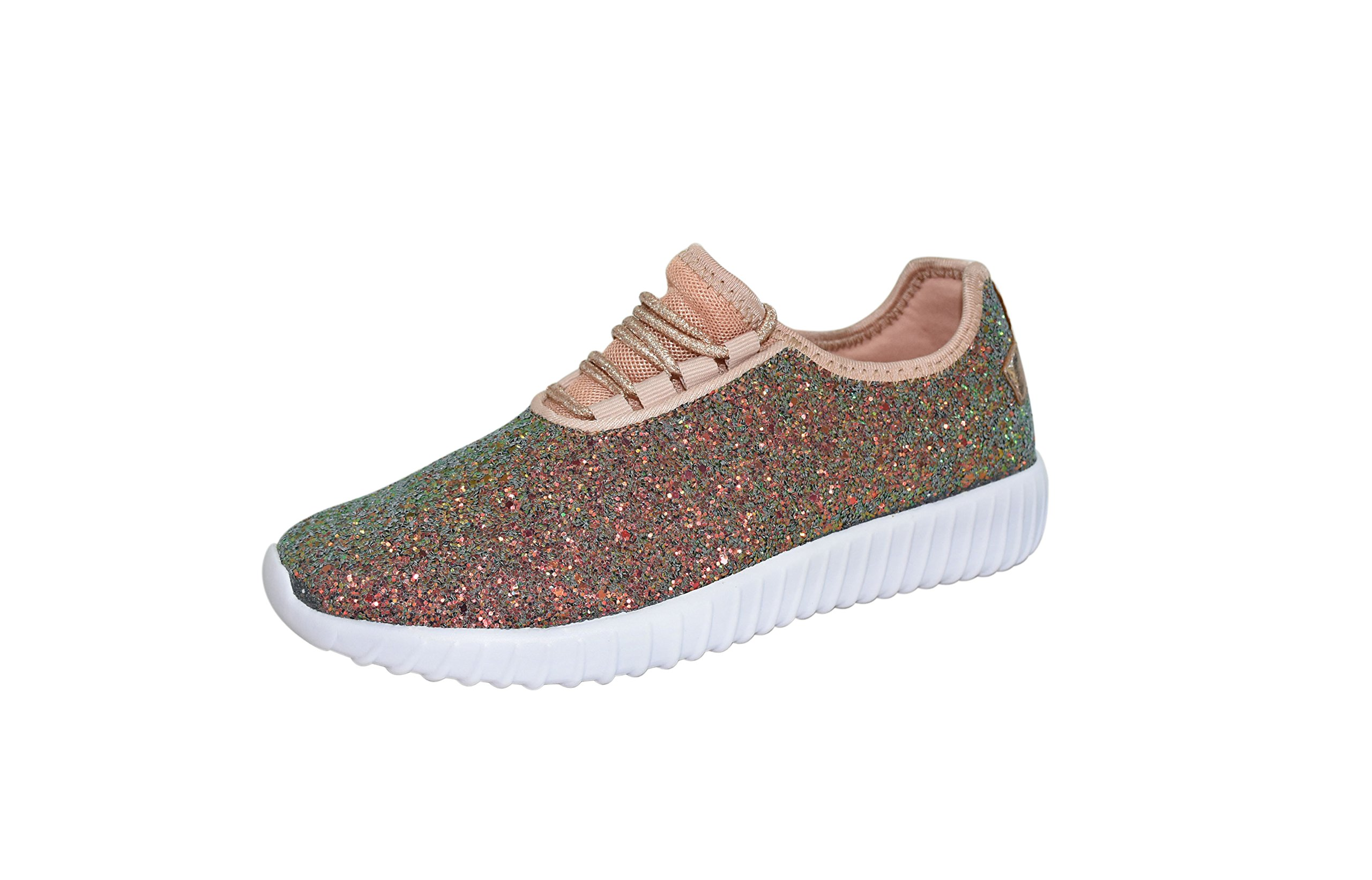 ROXY-ROSE Women's Fashion Glitter Sneaker Walking Shoes Stylish Shoes Sparkly Shoes Women (7.5 B(M) US, Green Hologram)
