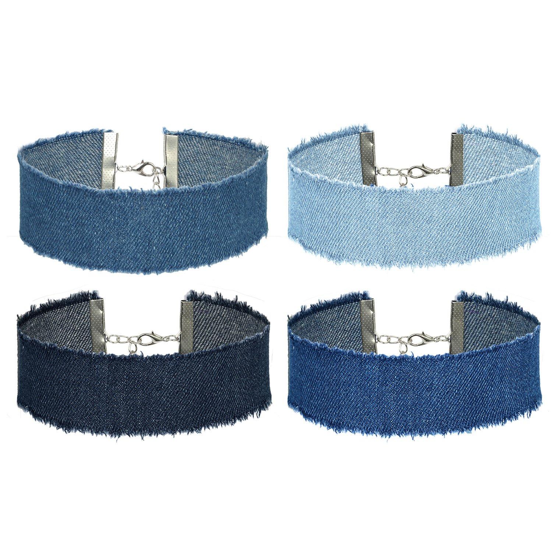 Flongo 4PCS Vintage Blue Cowboy Jean Choker Necklace for Women Girl