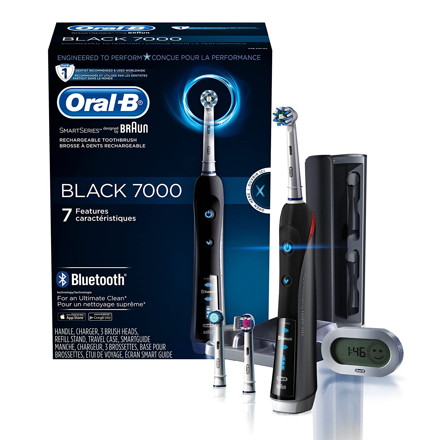 Oral-B 7000 SmartSeries Rechargeable Power Electric Toothbrush with 3 Replacement Brush Heads, Bluetooth Connectivity and Travel Case, White, Powered Oral B D36.535.6X