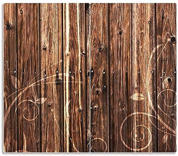 Herdabdeckplatte 2-teilig aus Glas Schnörkelmuster dunkelbraun braune 60x52cm