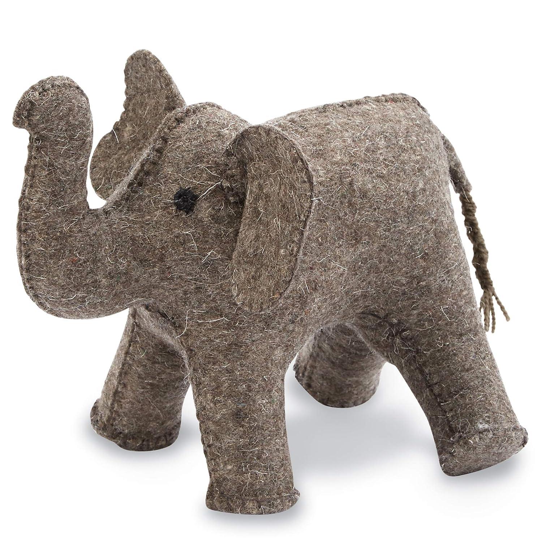 "Mud Pie Vintage Inspired Nursery Decor Wool Elephant Book End, Grey, 10""Height x 10"" Length x 8"" Width"