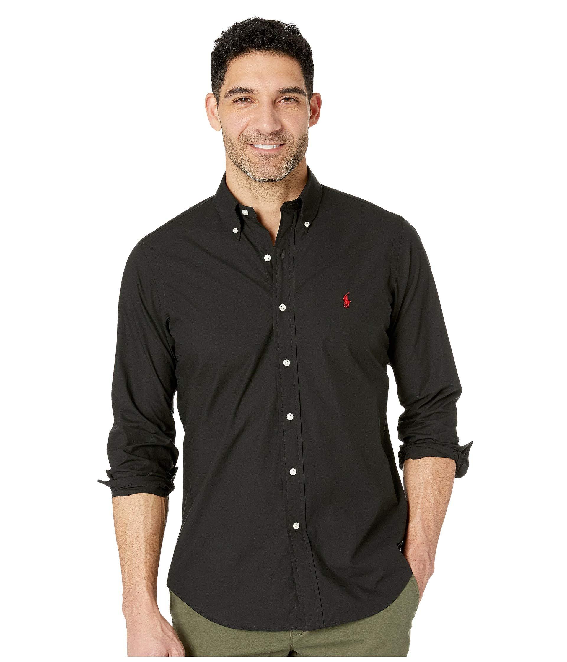 Polo Ralph Lauren Mens Solid Poplin Sport Shirt (XL, Black)