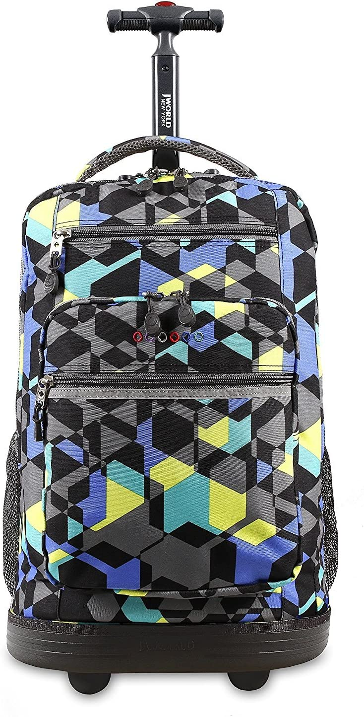 Wheeling Luggage Kids Blue Yellow Geometric Cubes Pattern Rolling Backpack Geometry Textured Suitcase Laptop Compartment Duffel Wheels Girls School Bag Fashionable