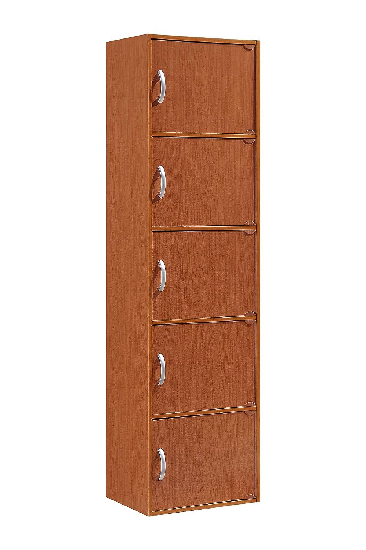 Hodedah 5 Door, Five Shleves, Enclosed Storage Cabinet, Beech HID5 BEECH