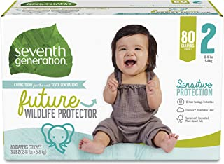 product image for Seventh Generation Baby Diapers, Size 2, 80 Count, Super Pack, for Sensitive Skin