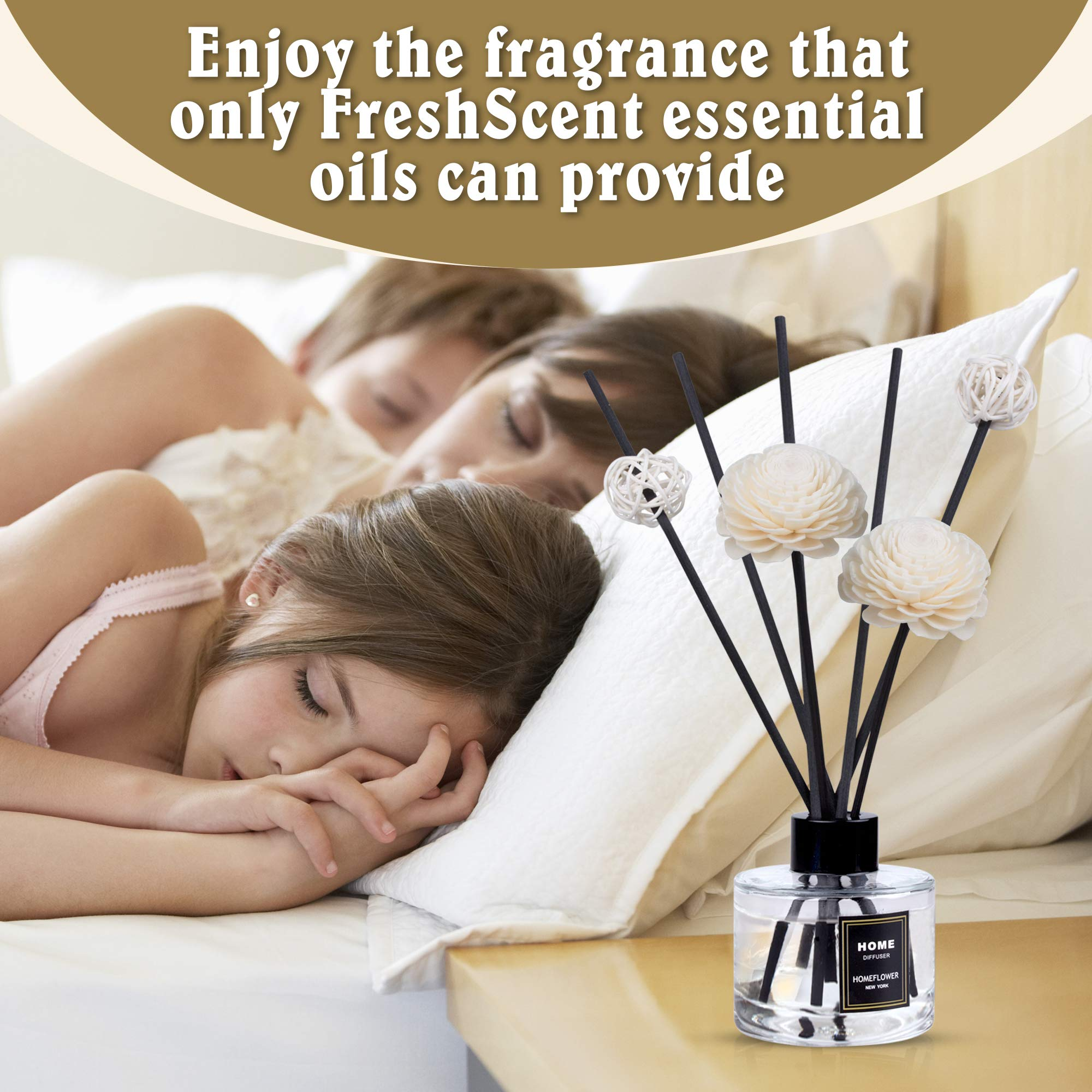 HomeFlower Reed Diffuser Set Lavender: Scent Sticks & Sola Flowers Included - Scented Liquid Fragrance Oil - Room Diffusers for Home or Bathroom - Made with FreshScent Premium Essential Oils - 4 oz by HomeFlower (Image #5)