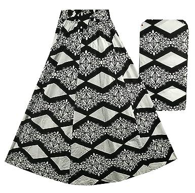 604e7e187c7 Amazon.com  Decoraapparel African Wax Skirts Long Maxi Ankara High Waist  Skirts Black White Print One Size (Black White P18