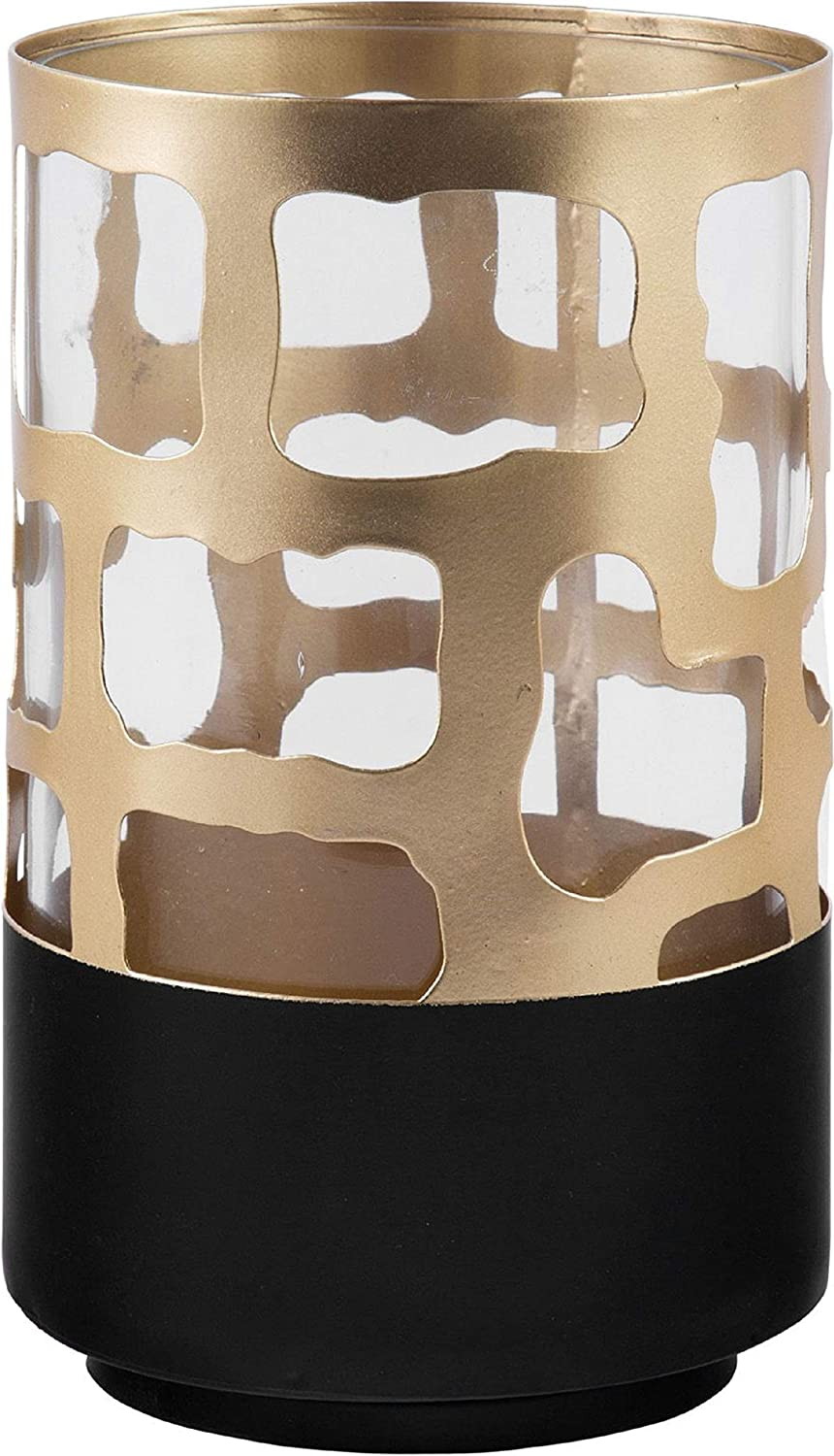 10-Inch Height Home Essentials Gold Caged Hurricane