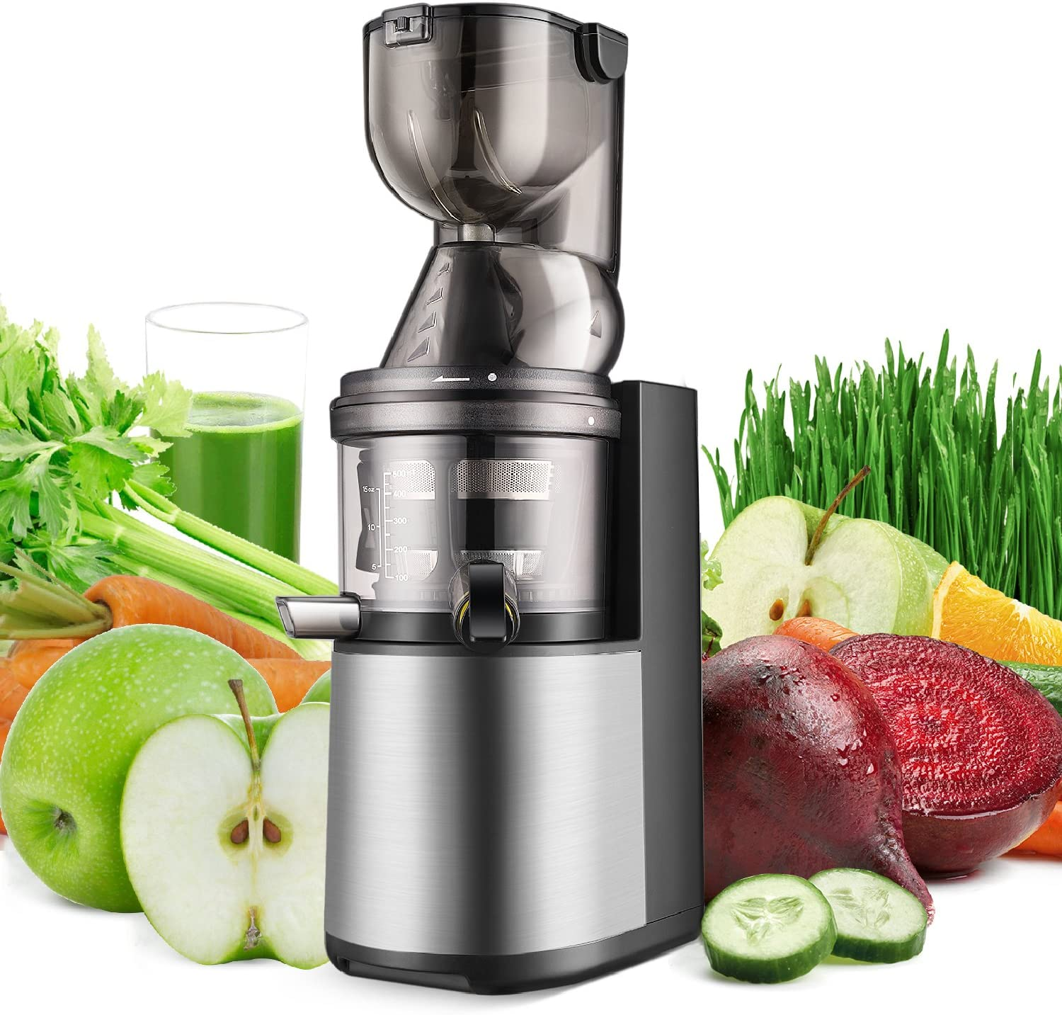 Flexzion Slow Masticating Juicer - Cold Press Machine Juice Extractor Easy to Clean with Juice Recipe Wide Feed Chute for High Nutrient Fruit Vegetable