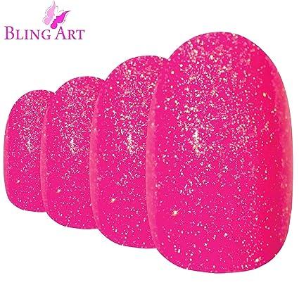 Uñas Postizas Bling Art Rosado Gel Ovale 24 Medio Falsas puntas acrílicas con pegamento