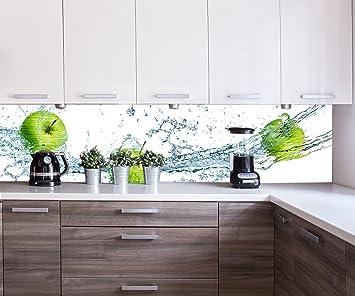 Küchenrückwand grüner Apfel Nischenrückwand Spritzschutz Design M0736 260 x  60cm (B x H) - Aluminium gebürstet 3mm Rückwand Küche Fotorückwand ...
