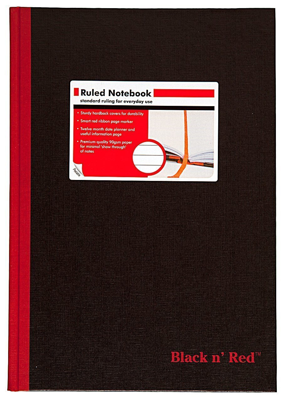 Black n' Red Casebound Hardcover Notebook, 11-3/4'' x 8-1/4'', Black/Red, 96 Ruled Sheets, Sold as 6 Pack (D66174)
