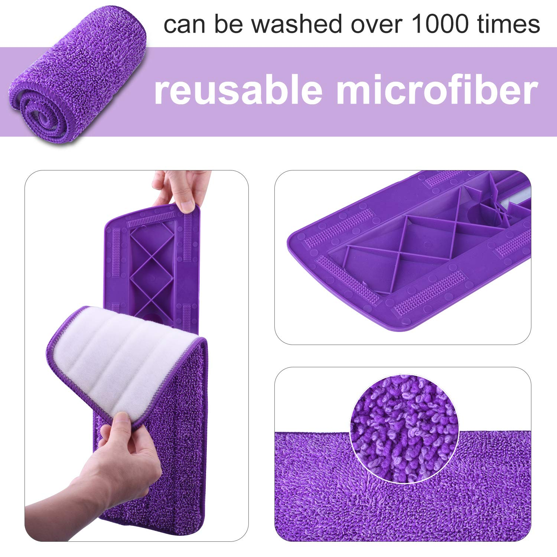 Hardwood Floor Mop Microfiber Spray Mop with Refillable Bottle and 2 Pcs Reusable Microfiber Pads (Purple) by BONROB (Image #2)