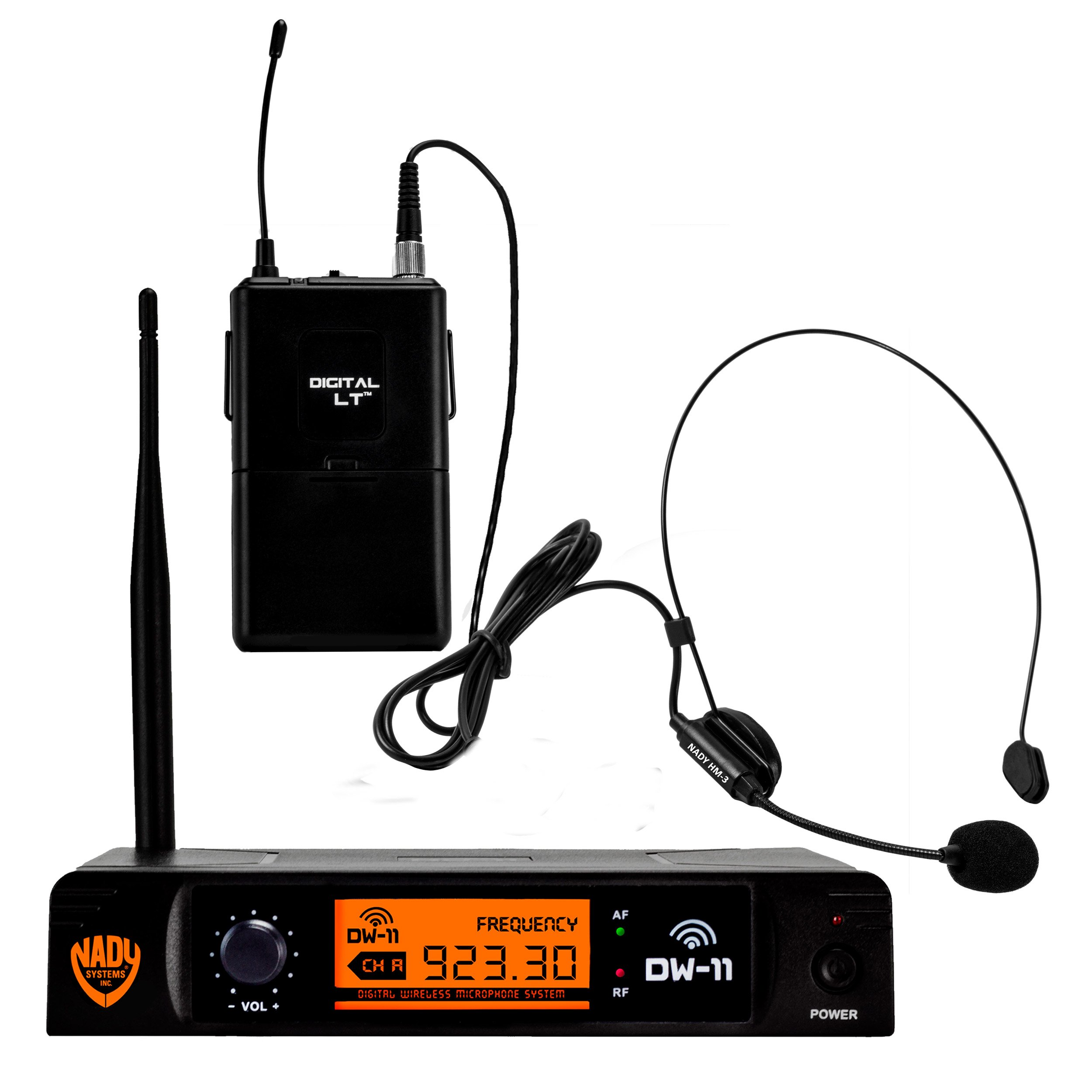 "Nady DW-11 Digital Wireless Headset Microphone System with HM-3 Unidirectional Headmic – Ultra-low latency with QPSK modulation - XLR and ¼"" outputs – UHF range by Nady"