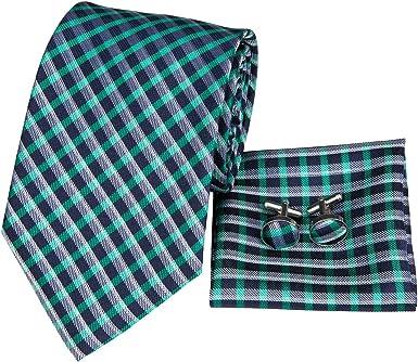 Hi-Tie - Corbata de corbata para hombre, color verde clásico con ...