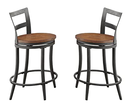 Ordinaire Homelegance Selbyville Counter Height Swivel Metal Dining Chairs (Set Of  2), Gunmetal