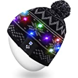 Rotibox Children Boys Girls Stylish LED Light Up Beanie Hat Knit Cap with Copper for Indoor and Outdoor Festival Holiday Celebration Parties Christmas Gifts