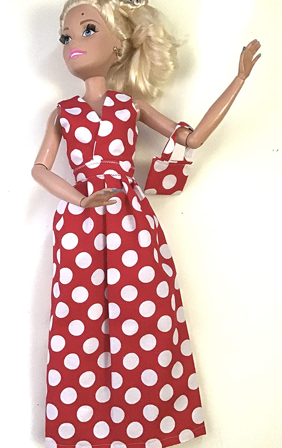 Doll clothes for life size Barbie Clothes made to fit 28 inch dolls Doll fashionable red with white polka sleeveless dress
