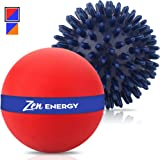 Zen Energy Pro Massage Balls - Large Ball For Massage & Large Spiky Reflexology Ball Makes Perfect Roller Ball Massager Set For Self Massages & Myofascial Release - Red & Navy