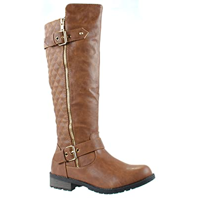 Forever Women's Mango-21 Quilted Pattern Calf High Boots with Buckle and Zipper Decoration | Boots