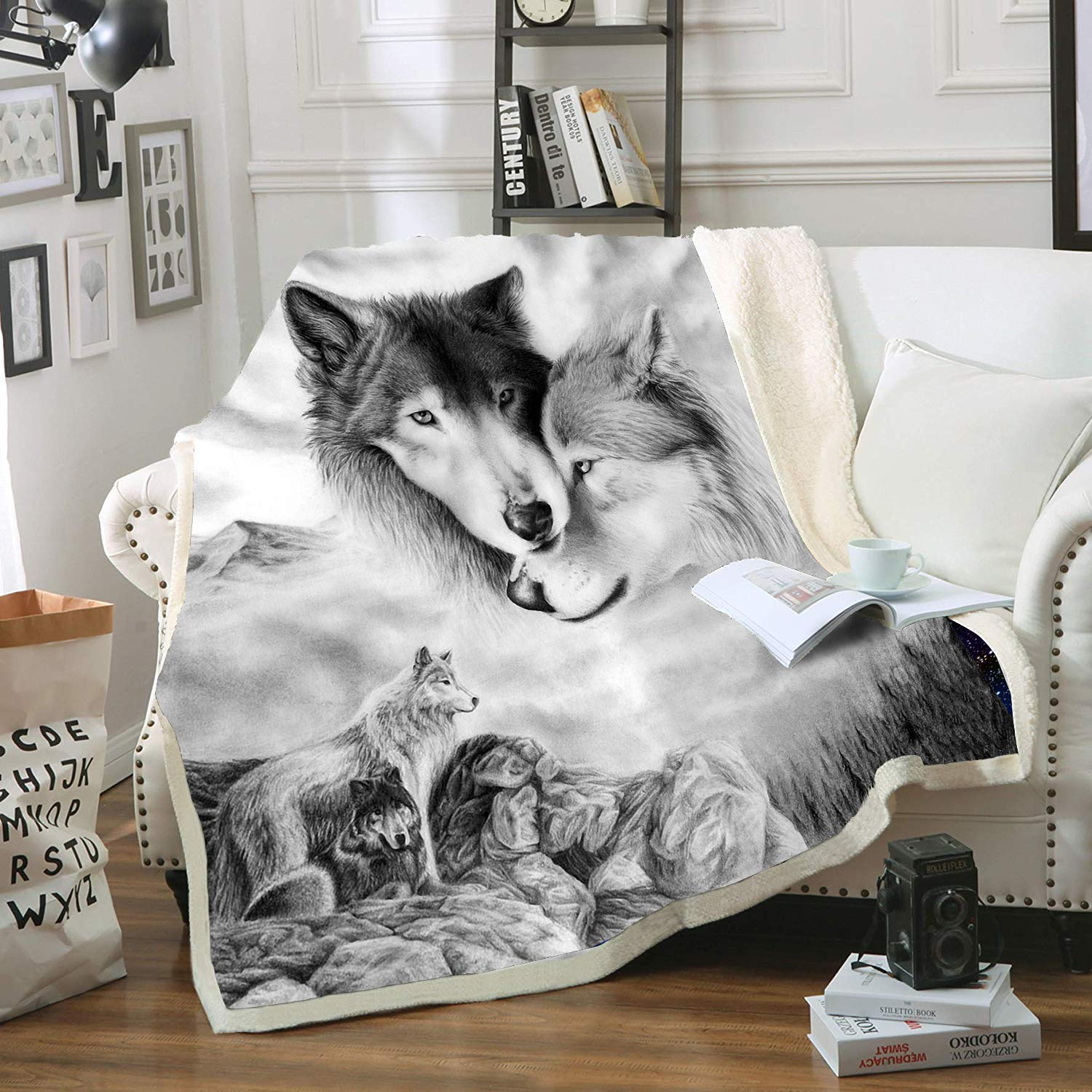 "HOME Gray Wolf Blanket Comfort Warmth Soft Cozy Air Conditioning Machine Wash Black and White Rose Skull Sherpa Fleece Blanket (Throw 60""x80"") (Gray Wolf)"