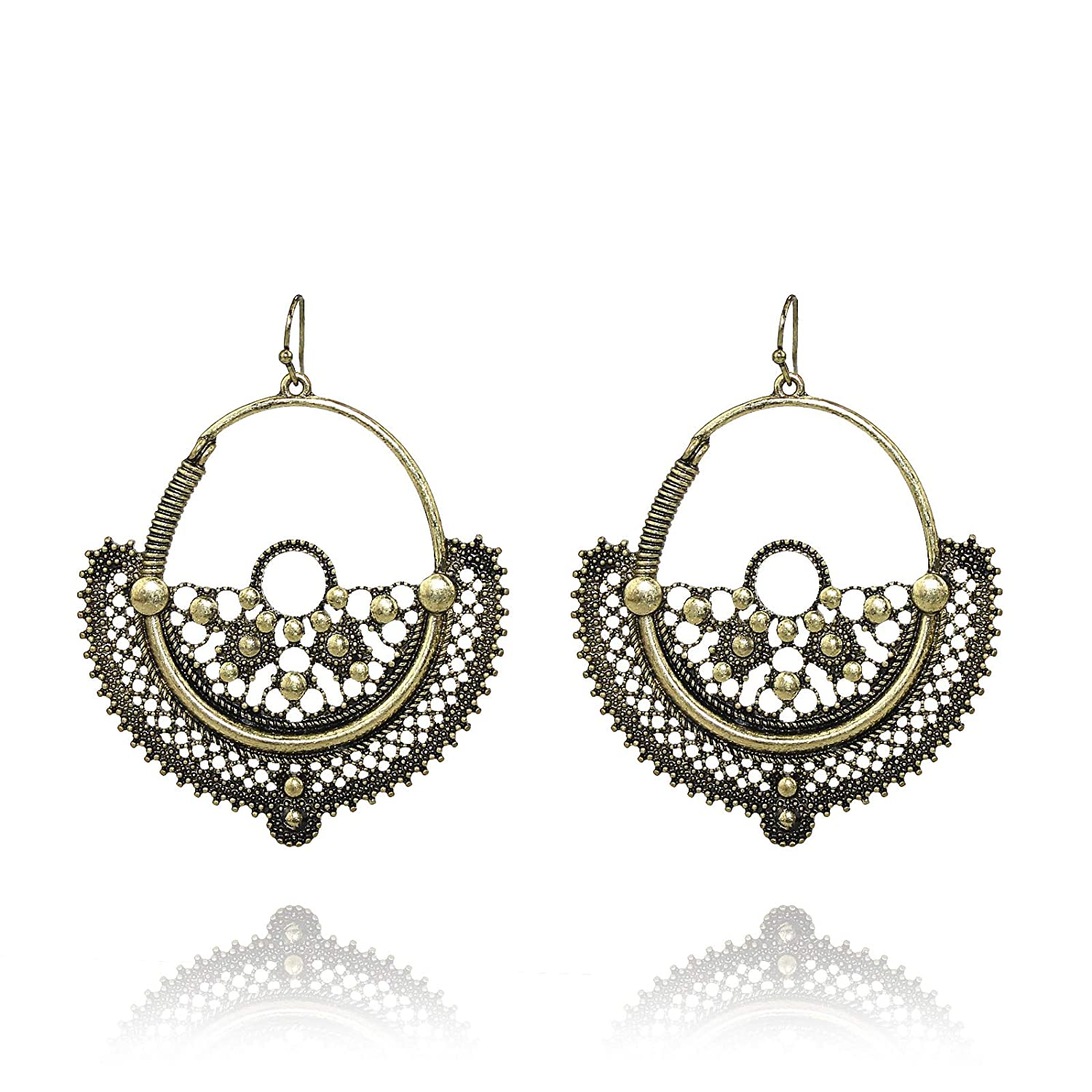 Pomina Burnished Gold Plated Bohemian Style Drop Earrings
