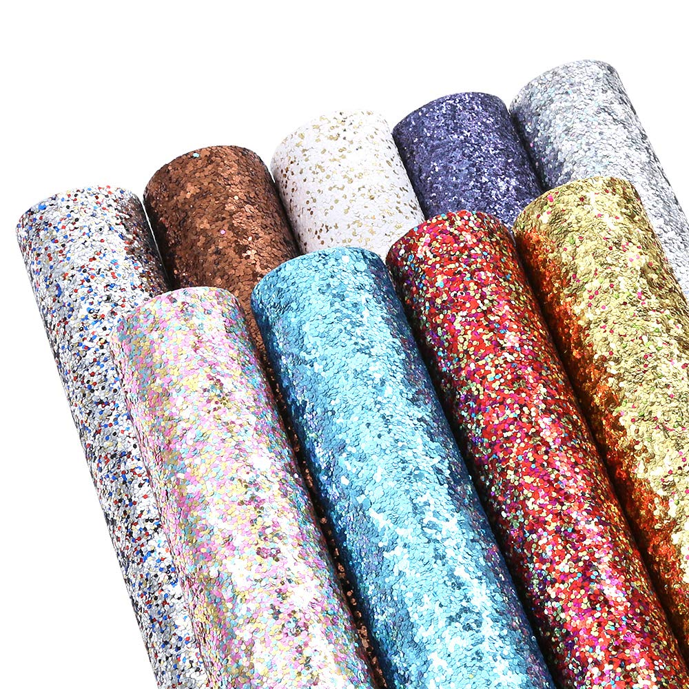 Caydo 9 Colors Accessories Super Shiny Chunky Glitter Stereoscopic Sequins Faux Leather Sheets Canvas Back for Craft DIY, Hair Clips Making, Earrings Making 12.6 x 8.6 Inch (32 x 22 cm)