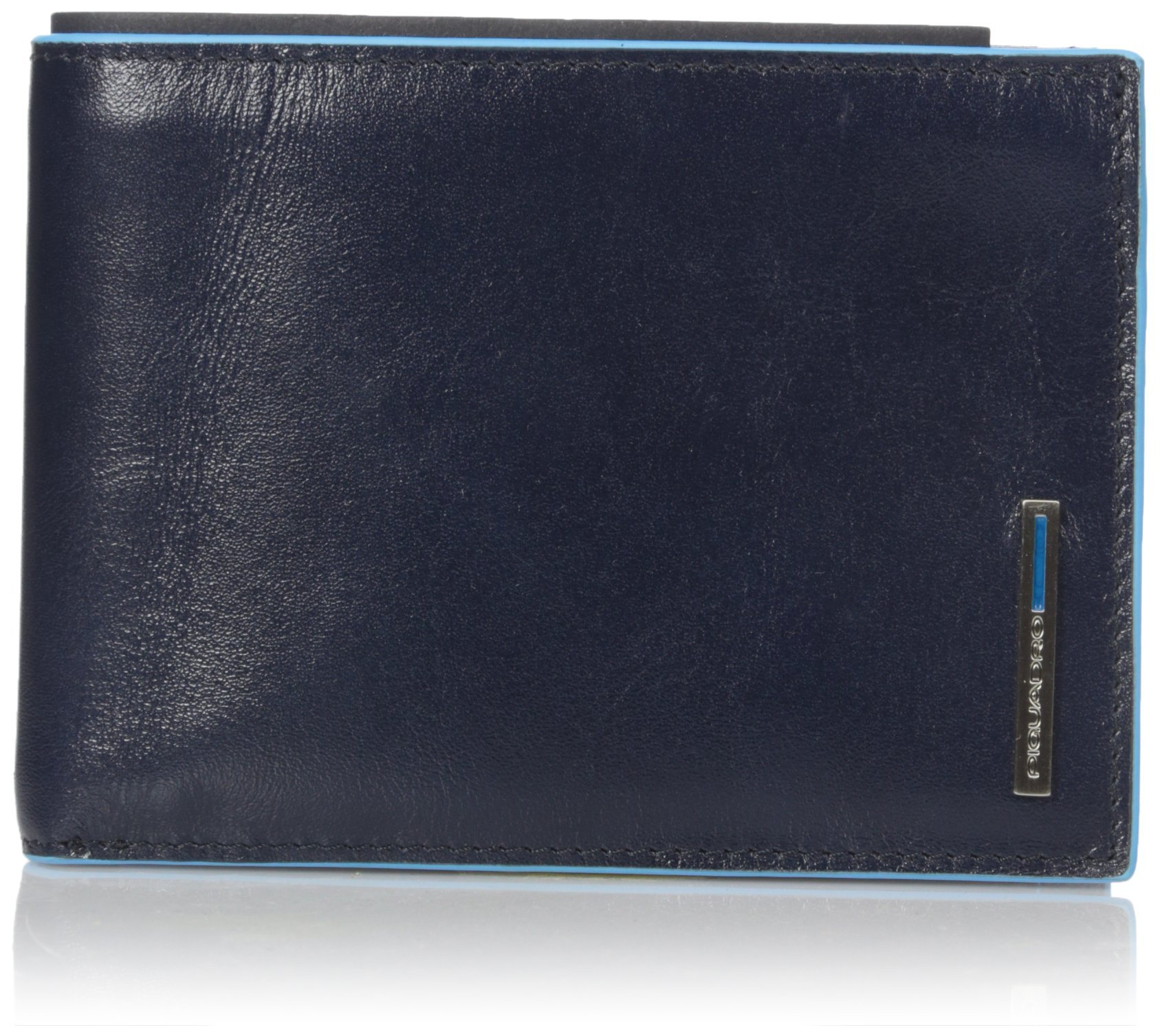 Piquadro Man's Wallet In Leather, Dark Blue, One Size