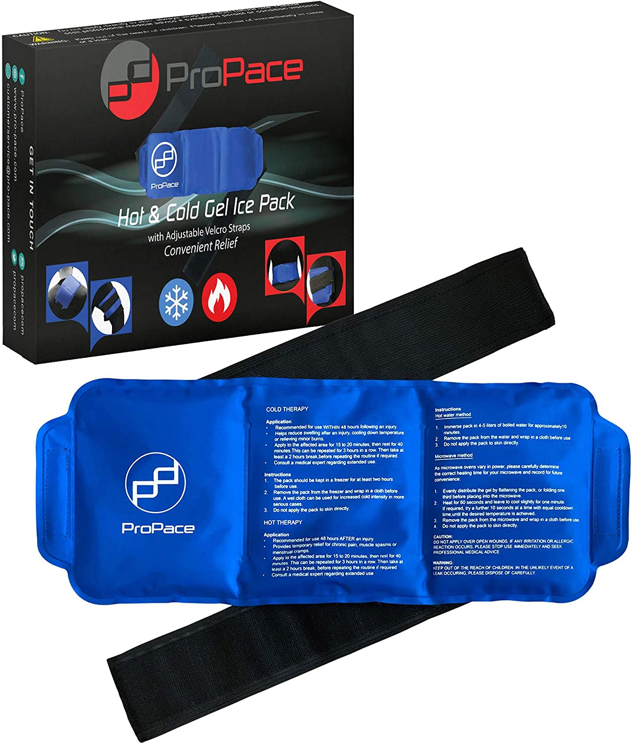 Hot Cold Pack/ice Pack by ProPace - Reusable Large Wearable Gel Wrap with a Flexible and Adjustable Strap - Portable Frozen Heat Compression Therapy Ideal for Ankle Back Shoulder Elbow & Knee Injuries