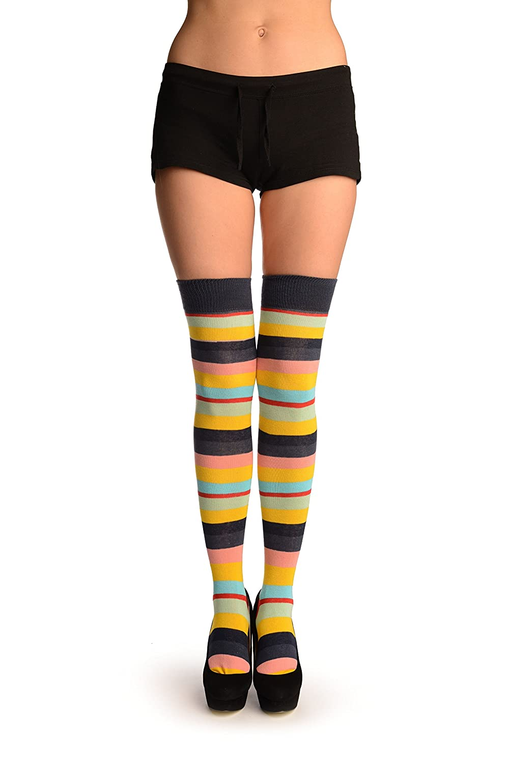 f26fca47f66 Rainbow Stripes With Red Over The Knee Socks - Multicoloured Striped Over  The Knee Socks  Amazon.co.uk  Clothing