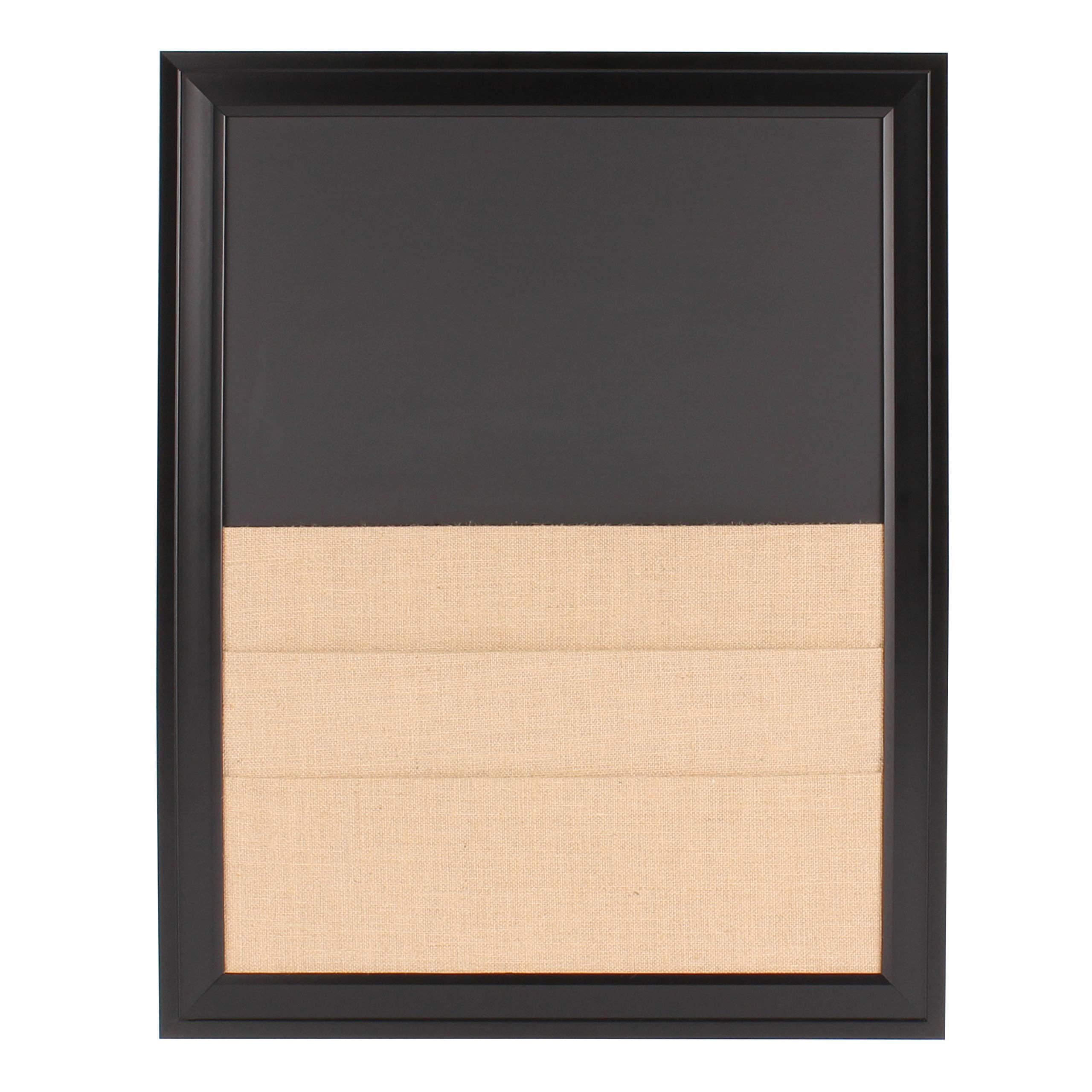 DesignOvation Bosc Framed Combination Magnetic Chalkboard and Burlap Pockets Wall Board, Black by DesignOvation