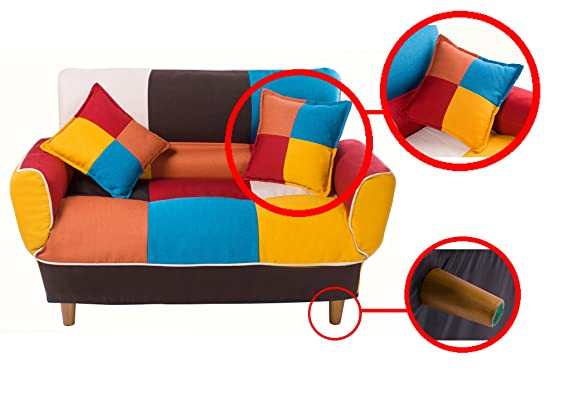 Fabulous Merax Wf006643Zaa Contemporary Multicolor Loveseat Adjustable Split Back Futon Upholstered Foldable Sofa Couch Sleeper With 2 Free Pillows Cotton Pdpeps Interior Chair Design Pdpepsorg